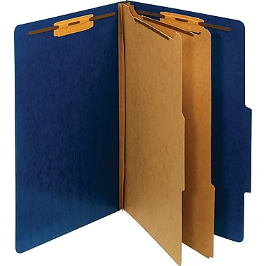 Staples® Moisture-Resistant Classification Folders, Legal, 2 Partitions, Dark Blue, 10/Pack