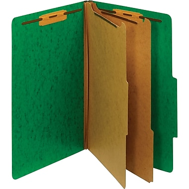 Staples® Moisture-Resistant Classification Folders, Legal, 2 Partitions, Green, 10 Pack