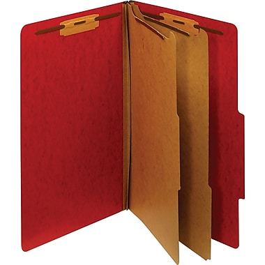 Staples® Moisture-Resistant Classification Folders, Legal, 2 Partitions, Red, 10/Pack
