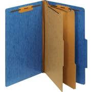 Staples® Moisture-Resistant Classification Folders, Legal, 2 Partitions, Blue, 10/Pack