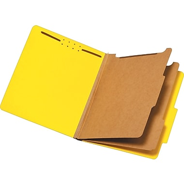 Staples® Brightly Colored Classification Folders, Letter, 2 Partitions, Yellow, 5/Pack