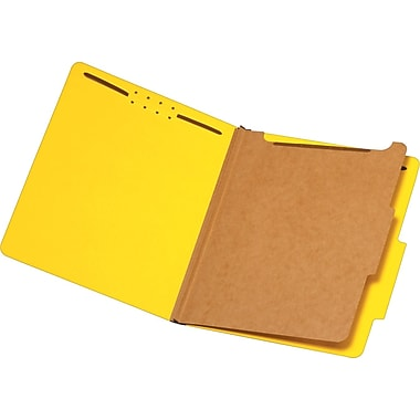 Staples® Brightly Colored Classification Folders, Letter, 1 Partition, Yellow, 5/Pack