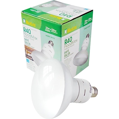 23 Watt MaxLite R-40 Indoor CFL Floodlights, Warm White, 6/Pack