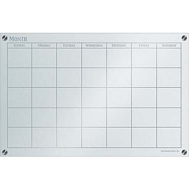 The Board Dudes™ GlassX Frosted Glass Dry-Erase Board with Monthly Planner,  35in. x 23in.