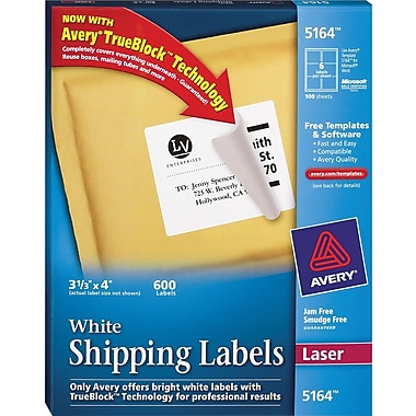Avery® White Laser Shipping Labels with TrueBlock™