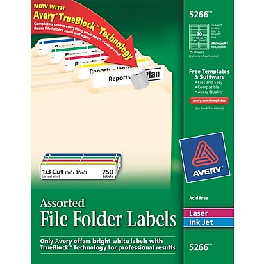 Avery® Permanent File Folder Labels with TrueBlock, Assorted Colors, 750/Pack (5266)