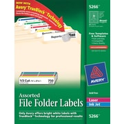 Avery® 5266 Assorted Colors Permanent File Folder Labels with TrueBlock™, 750/Pack