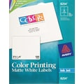 Avery 8254 Color Printing Matte White Inkjet Shipping Labels, 3-1/3in. x 4in., 120/Box