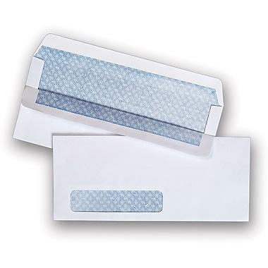 Staples® #10, Left Window Self-Sealing Security-Tint  Envelopes, 500/Box