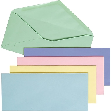 Staples® #10, Pastel-Colored Gummed Envelopes, 50/Pack