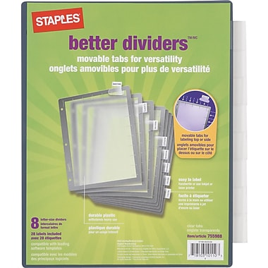 Staples® Better™ dividers 8- Tab Set, Clear