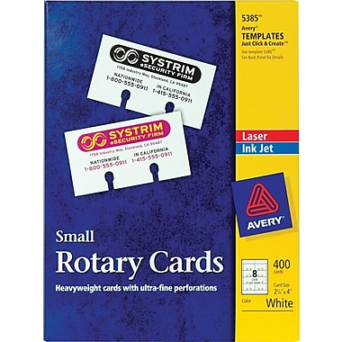 Avery 5385 Laser Rotary Cards, 2-1/6in. x 4in., 400/Pack