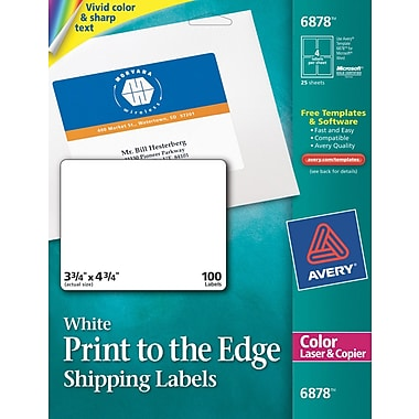 avery color printing matte white laser shipping labels staples