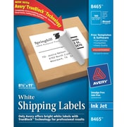 Avery® 8465 White Inkjet Full Sheet Shipping Labels with TrueBlock™, 8-1/2 x 11, 100/Box