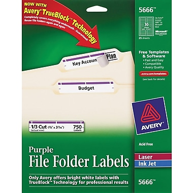 Avery® 5666 Purple Permanent File Folder Labels with TrueBlock, 750/Pack