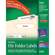 Avery® 5366 White Permanent File Folder Labels with TrueBlock™, 1,500/Pack