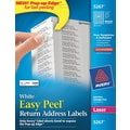 Avery 5267 White Laser Return Address Labels with Easy Peel®, 1/2in. x 1-3/4in., 2,000/Box