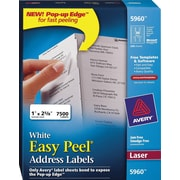 Avery® 5960 White Laser Address Labels with Easy Peel®, 1 x 2-5/8, 7,500/Box