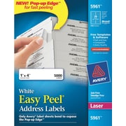 Avery® 5961 White Laser Address Labels with Easy Peel®, 1 x 4, 5,000/Box
