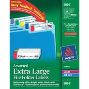 Avery® 5026 Extra-Large Assorted Colors Permanent File Folder Labels with TrueBlock™, 450/Pack