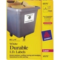 Avery 6575 White Permanent Durable ID Laser Labels, 8-1/2in. x 11in., 50/Pack