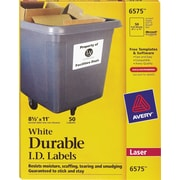 "Avery® 6575 White Permanent Durable ID Laser Labels, 8-1/2"" x 11"", 50/Pack"
