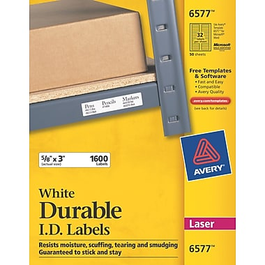 Avery 6577 White Permanent Durable ID Laser Labels, 5/8in. x 3in., 1,600/Pack