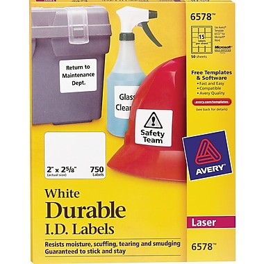 Avery 6578 White Permanent Durable ID Laser Labels, 2in. x 2-5/8in., 750/Pack