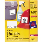 "Avery® 6578 White Permanent Durable ID Laser Labels, 2"" x 2-5/8"", 750/Pack"