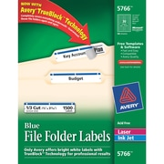 Avery® 5766 Blue Permanent File Folder Labels with TrueBlock™, 1,500/Pack