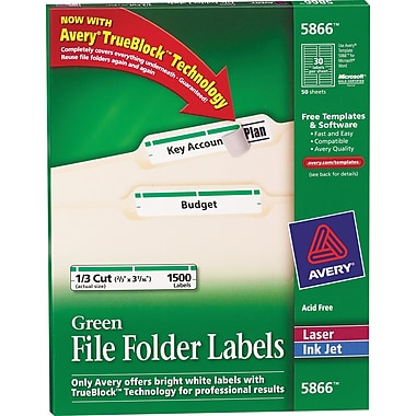 Avery® 5866 Green Permanent File Folder Labels with TrueBlock, 1,500/Pack