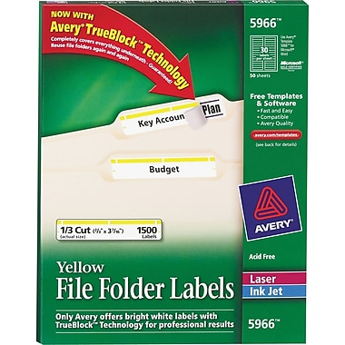 Avery® 5966 Yellow Permanent File Folder Labels with TrueBlock, 1,500/Pack