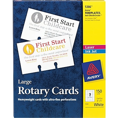 Avery 5386 Laser Rotary Cards, 3