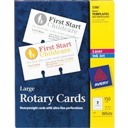 "Avery 5386 Laser Rotary Cards, 3"" x 5"", 150/Pack"