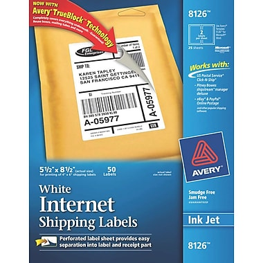 Avery Inkjet Internet Shipping Labels with TrueBlock, 5-1/2