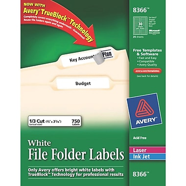 Avery® 8366 White Permanent File Folder Labels with TrueBlock, 750/Pack