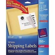 Avery® 5264 White Laser Shipping Labels with TrueBlock™, 3-1/3 x 4, 150/Box