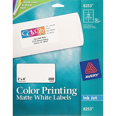 Avery 8253 Color Printing Matte White Inkjet Shipping Labels, 2in. x 4in., 200/Box
