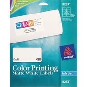 Avery color printing matte white inkjet address labels for Staples white mailing labels template