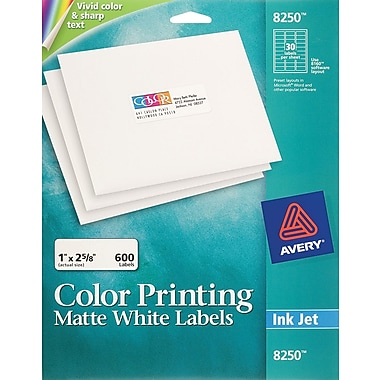 Avery 8250 Color Printing Matte White Inkjet Address Labels, 1in. x 2-5/8in., 600/Box