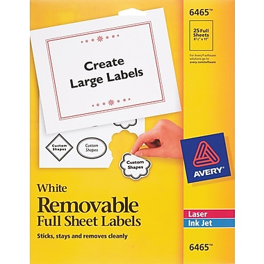 Avery 6465 Removable Inkjet/Laser Labels, 8-1/2in. x 11in., 25/Pack
