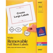 "Avery® 6465 Removable Inkjet/Laser Labels, 8-1/2"" x 11"", 25/Pack"
