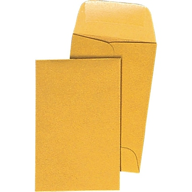 Staples® #7, 3-1/2in. x 6-1/2in. Brown Kraft Coin Envelopes with Gummed Closure, 500/Box