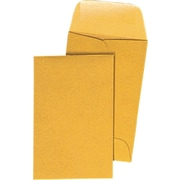 Staples® #1, 2-1/4in. x 3-1/2in. Brown Kraft Coin Envelopes with Gummed Closure, 500/Box