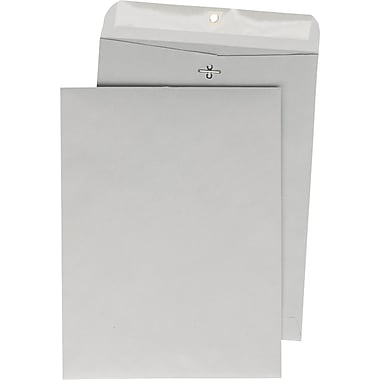 Quality Park™ 12in. x 15-1/2in. Gray Kraft Clasp Envelopes, 100/Box
