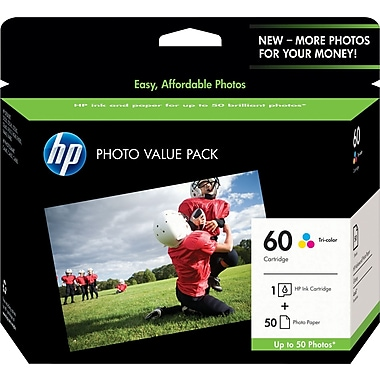 HP 60 Tricolor Ink Cartridge w/ Photo Value Pack (CG845AN)