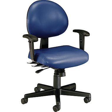 OFM 24-Hour Multi-Shift Antibacterial Vinyl Task Chair, Adjustable Arms, Blue