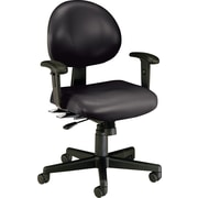 OFM Anti-Bacterial Multi-shift Vinyl Task Chair, Adjustable Arms, Black