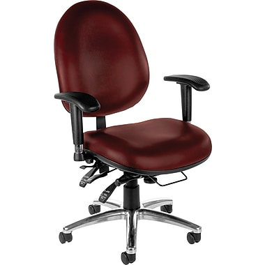 OFM High-Back 24-Hour Multi-Shift Vinyl Big/Tall Task Chair, Adjustable Arm, Wine
