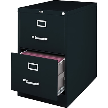 Staples® Vertical File Cabinet, 26-1/2in., 2- Drawer, Legal Size, Black